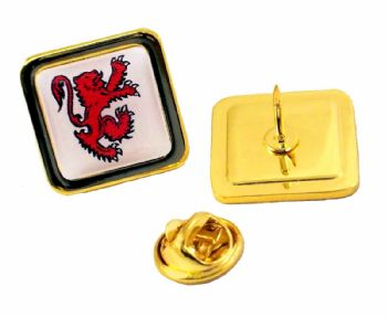 Superior Badge 16mm square gold clutch and printed dome